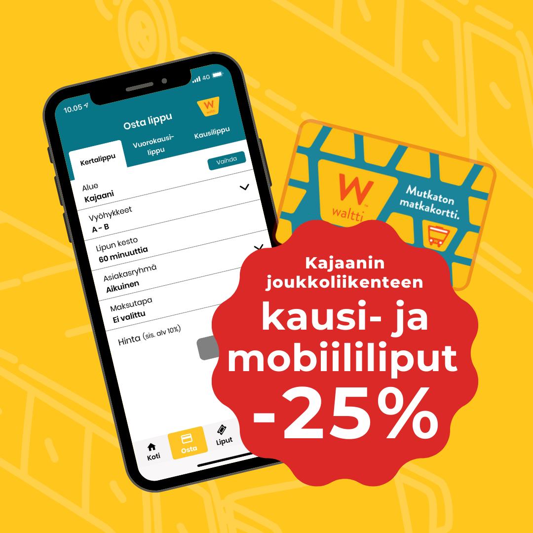 Osta kausi- ja mobiililiput -25% alennuksella Waltti mobiilista